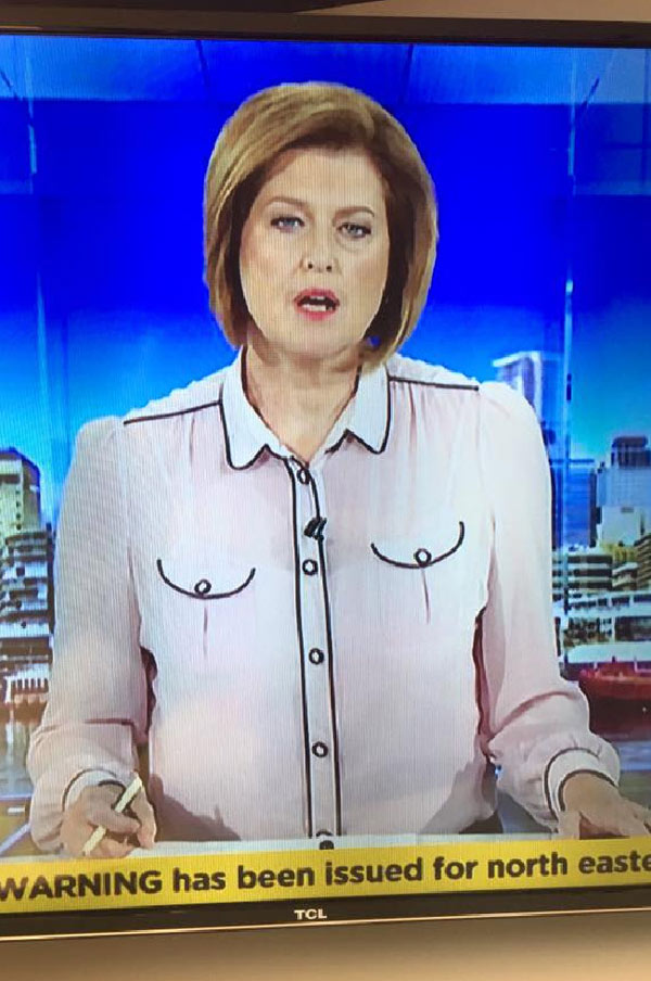 Aussie newsreader with hot pockets