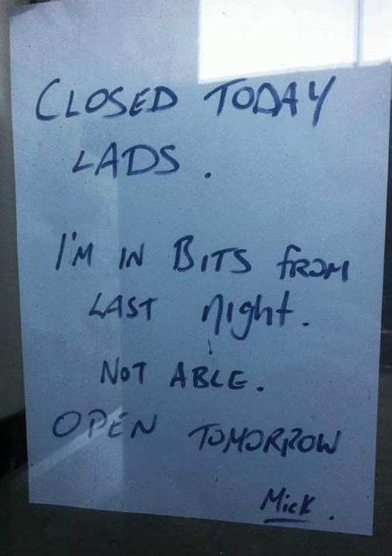 Sign in a shop window in Ireland, the day after St. Patrick's day