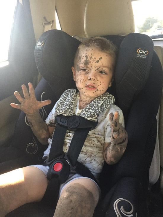My 3 year old nephew got picked up from school looking like this