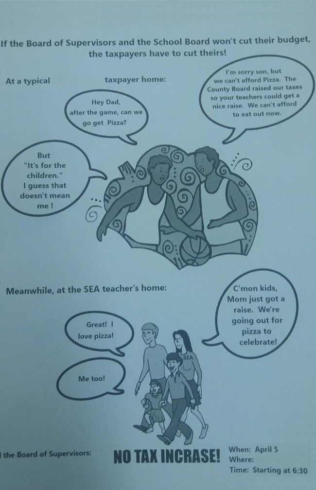 Actual brochure from protesters against raising teacher's wages