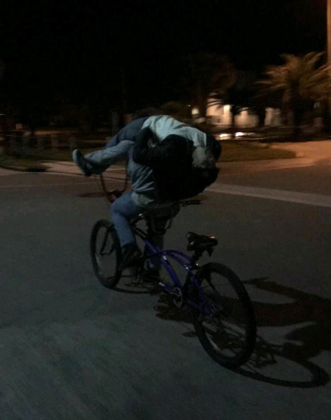 My buddy was so drunk he couldn't ride the tandem home. My other buddy improvised