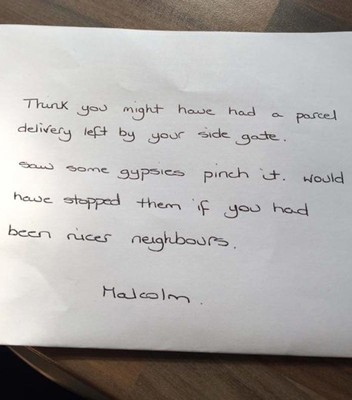 A friend of mine has received this note from the guy next door...