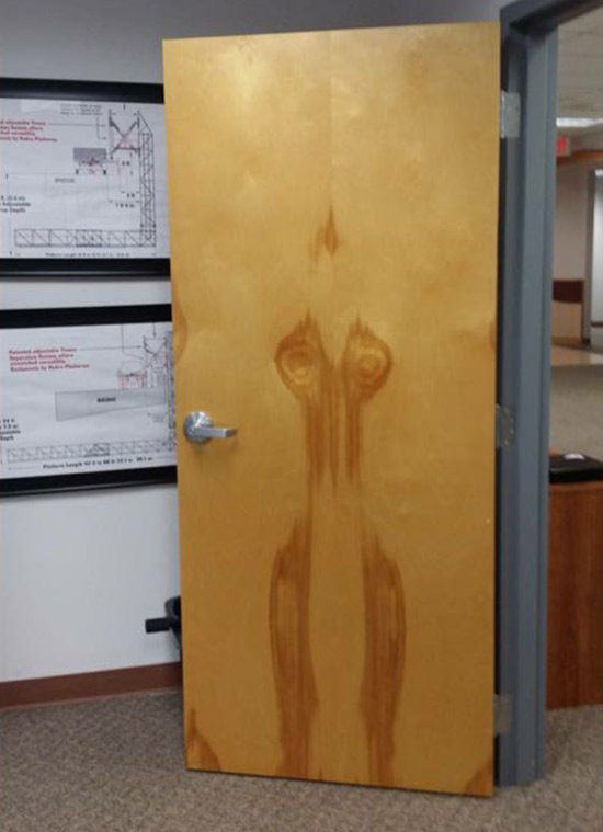 The wood grain on this door looks like a damp woman ran into it