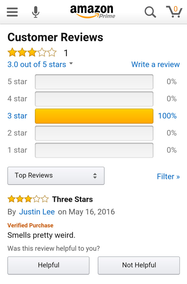 I was searching for a tape measure and this one only had 3 stars. This is the only review