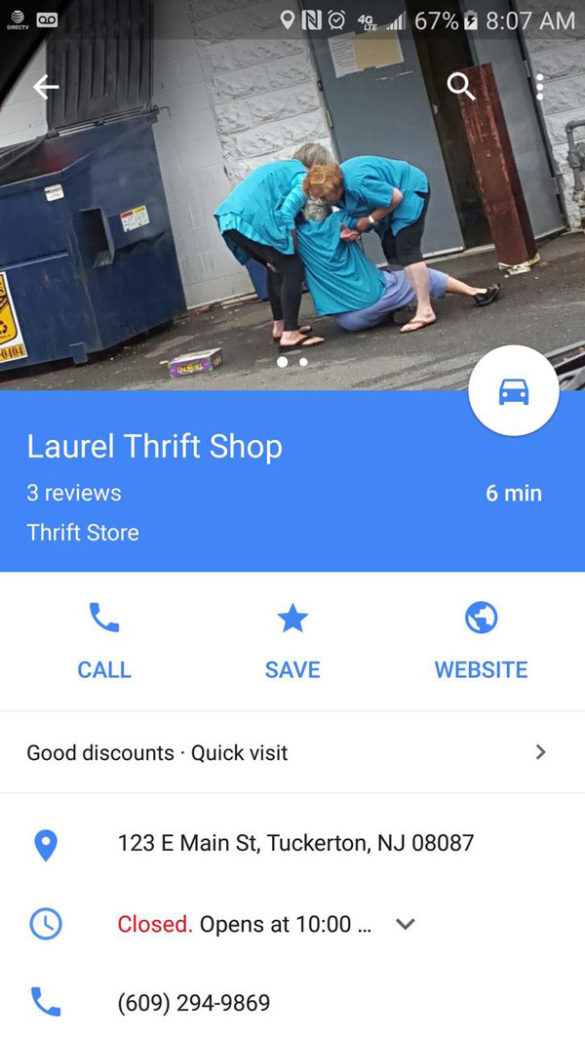 So I was looking for a nearby Thrift store...