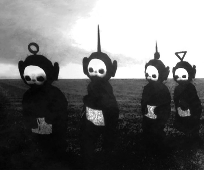The Teletubbies look like figures from a horror movie when you put them in black and white...