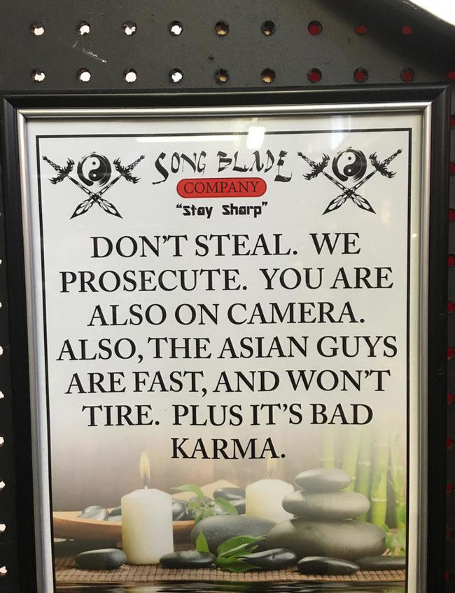 Saw this sign at the flea market Sunday. Thieves will think twice