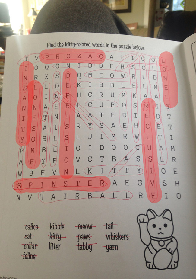 I don't think this word search author enjoyed this assignment