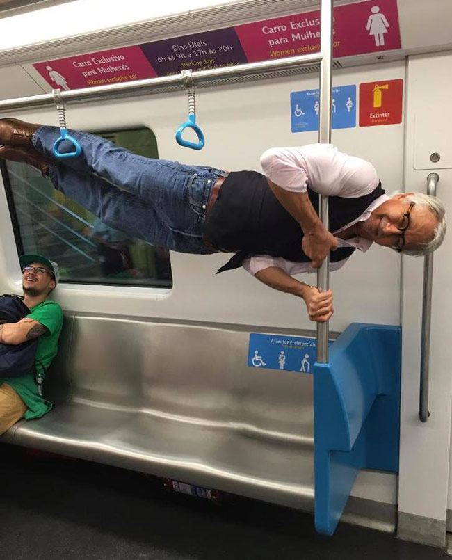 Someone offered my grandpa a preferred seat for elderly people on the subway and he did this