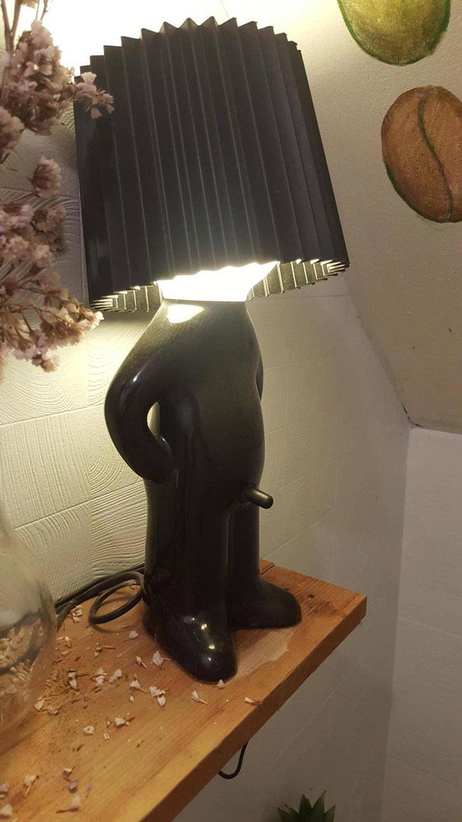 I have never felt more uncomfortable turning on a lamp...