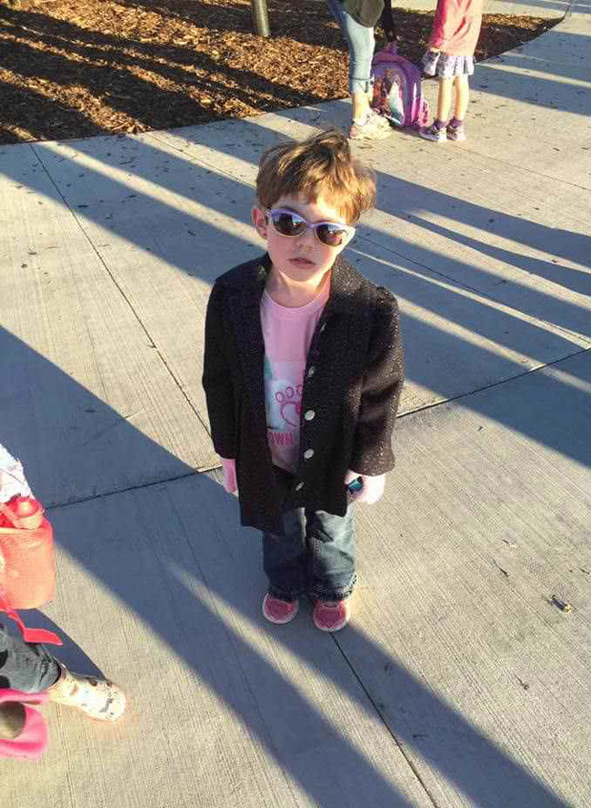 My niece looks like every character from the breakfast club going to school today