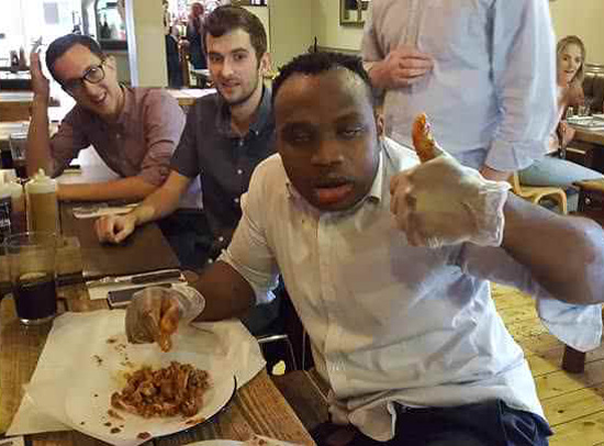 My friend was successful in a hot wing challenge