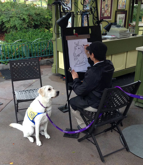 This service dog getting a caricature done at Disneyland