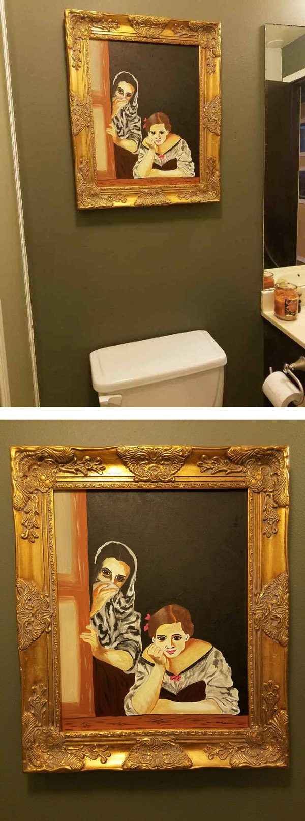 "I asked my wife to paint me something ""old timey that looks like it was stolen from a museum"" to go above the toilet in my man land... Nailed it!"