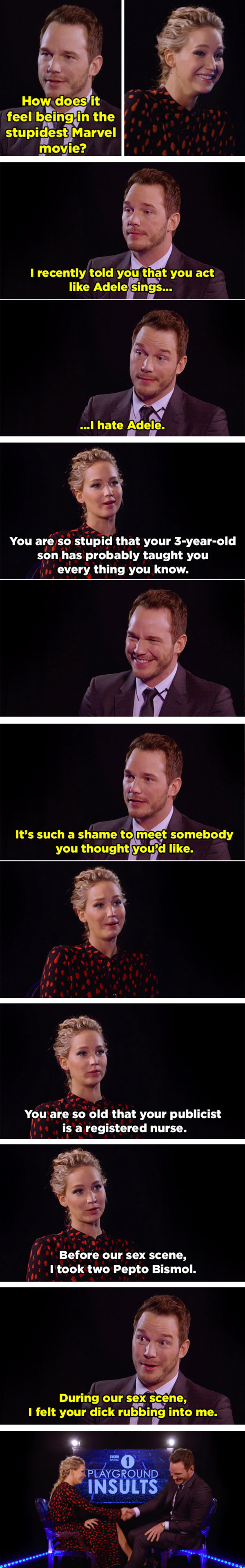 JLaw and Star Lord dish out the best insults
