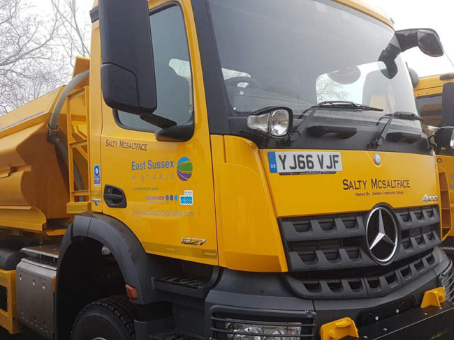 The newest gritter in the East Sussex fleet; Salty McSaltface