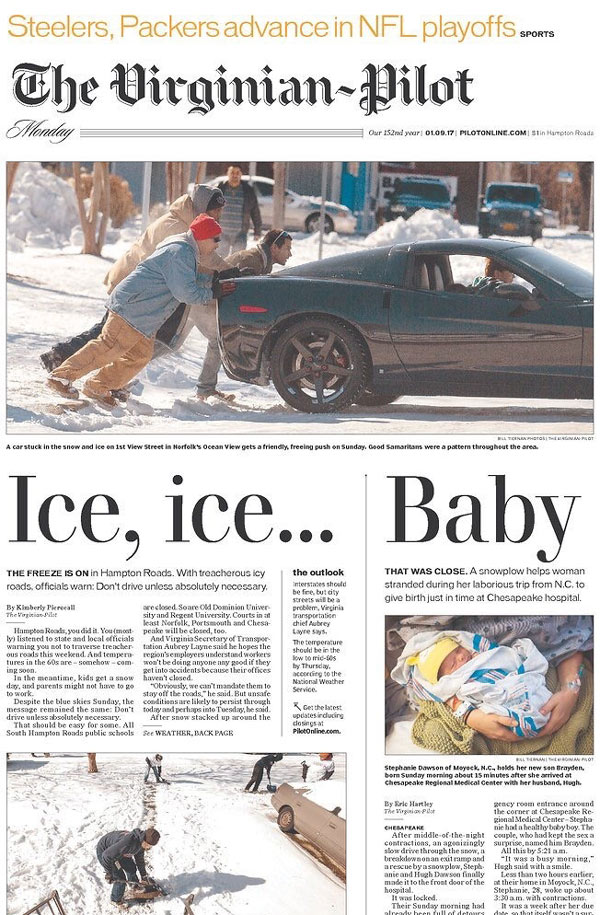 Shout-out to The Virginian-Pilot for this front page