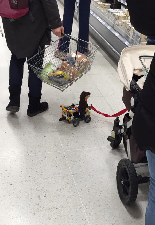 This little boy made his pet weasel a cart out of k'nex and dragged it round Waitrose on a lead