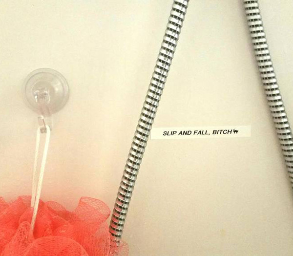 My husband got a label maker last night. This is the adorable note he left me in the shower