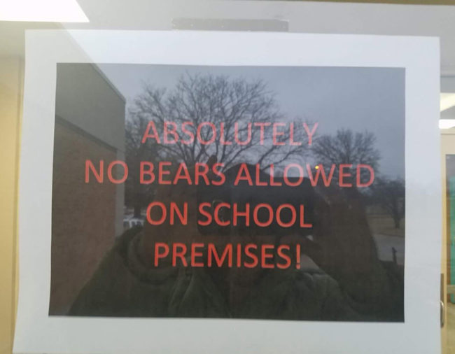 On the door to a school this morning