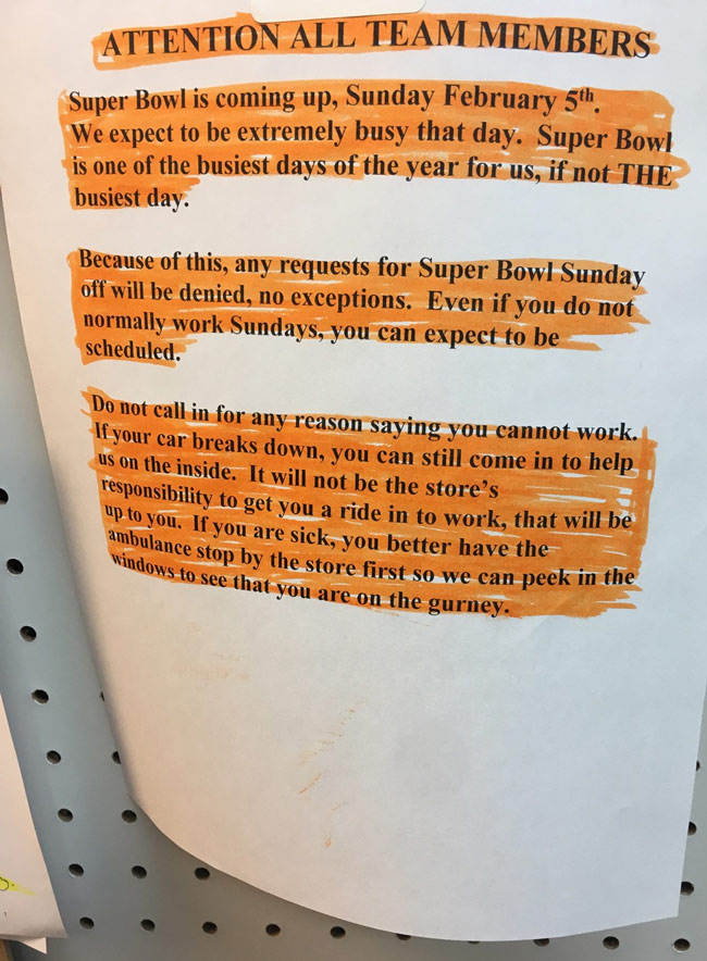 My job's notice for working on the super bowl