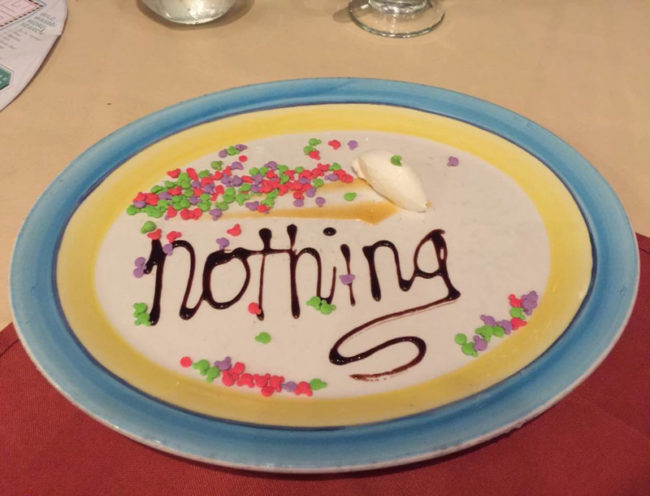 "Asked for ""nothing"" as dessert on a Disney cruise. Got this masterpiece"