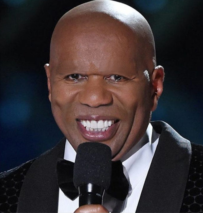 Steve Harvey without his mustache and eyebrows