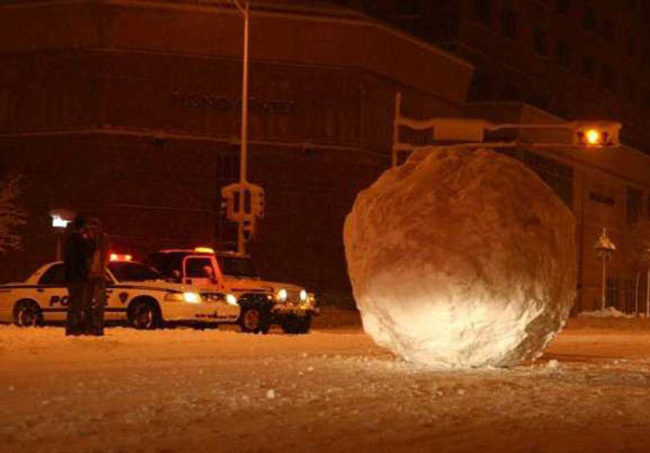 Someone rolled a giant snowball into the streets of Madison...