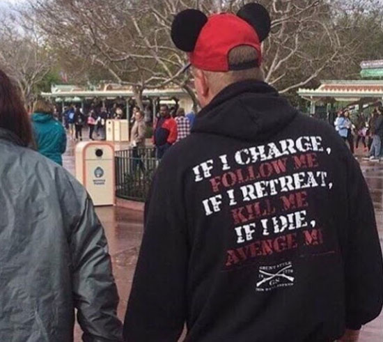 Not sure what this guy expects to happen at Disney today