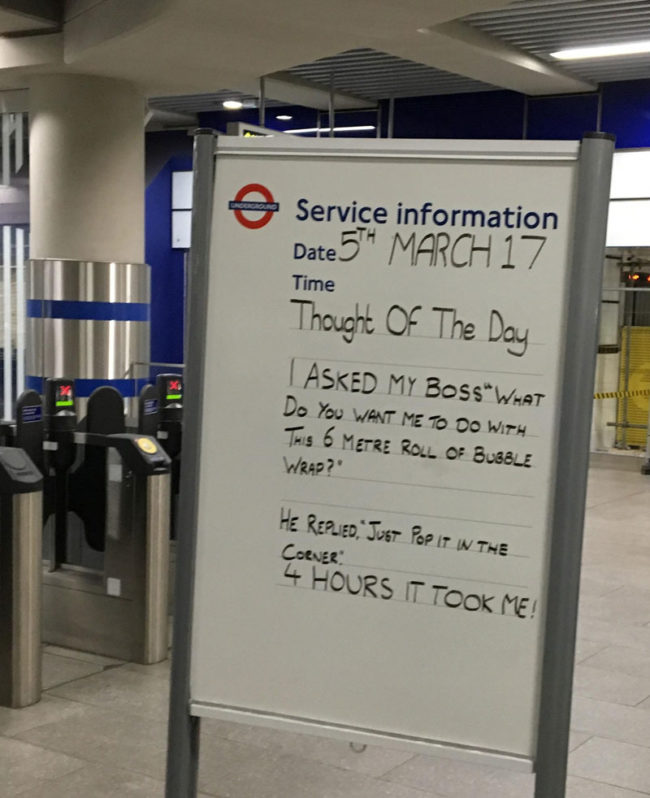 Yesterday on the London Underground