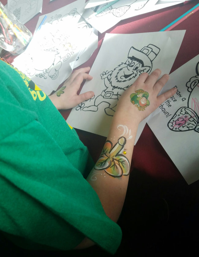 My niece got her arm painted at a St. Paddy's day festival. I guess it looks like a clover...