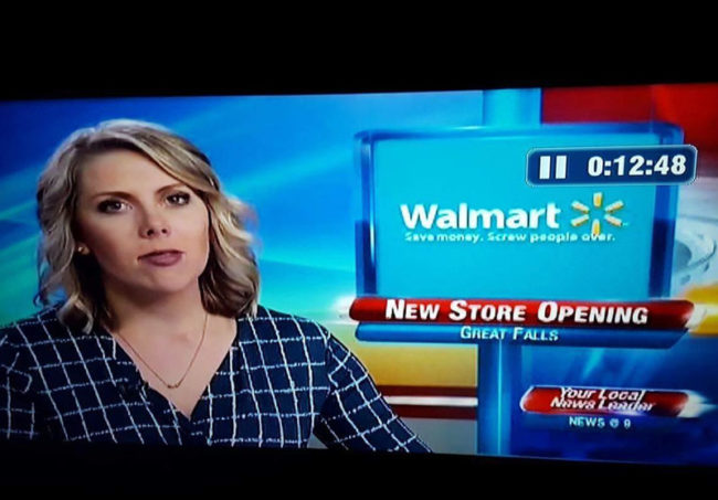 Local news didn't look too closely at Walmart's slogan