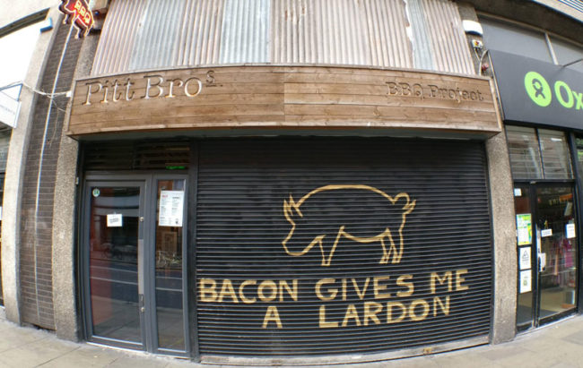Store front for a BBQ joint in Dublin, Ireland