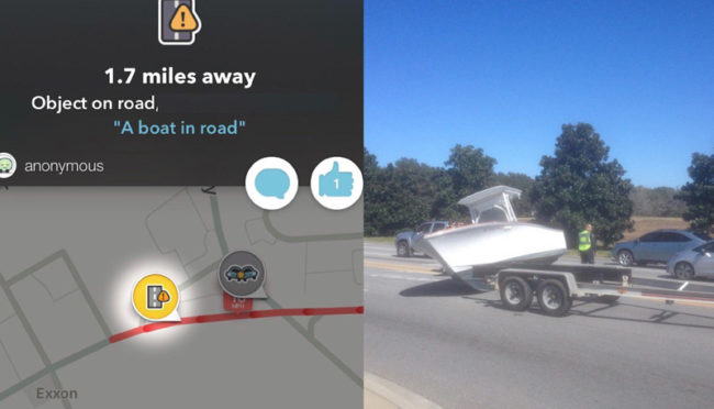 Waze said there was a boat in the road. Really?