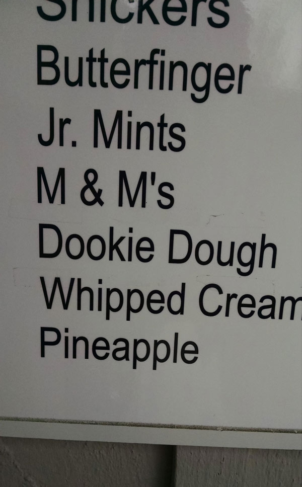 Unfortunate typo at an ice cream place