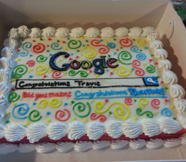 A friend at work got a job with Bing.com, so I got him a Google cake for his last day