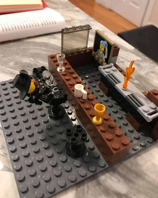 Instead of Millennium Falcons or fire trucks, my 8 year old son builds Lego bars with drunk patrons