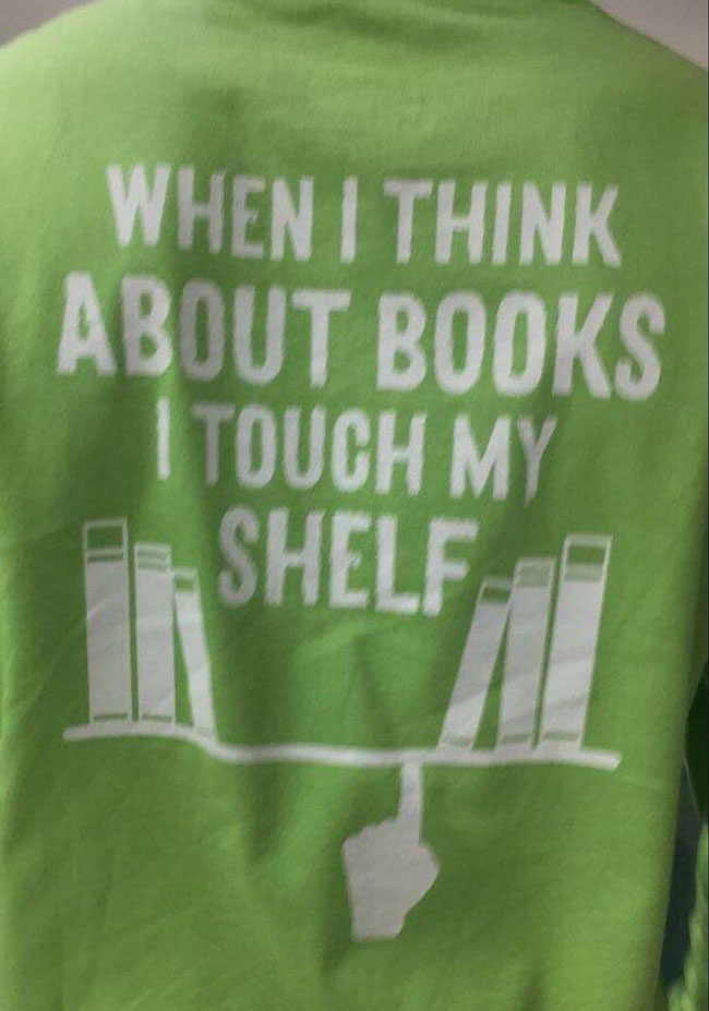 Shirts given out at our school library on the last day