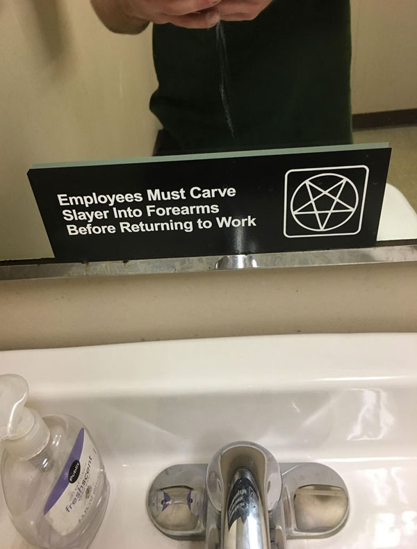 A friend of mine sent me a picture of his new job's bathroom...