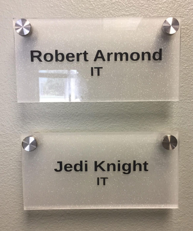 Our IT guys name is Jedediah Knight. This is what he goes by