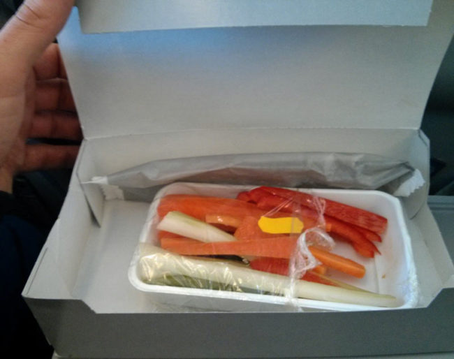 "I booked my flight online and chose the ""Vegetarian Oriental"" meal. This is what I got"