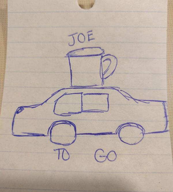 I have a client that is looking for a new logo and my daughter asked if she could help. I told her to create something that incorporates coffee and cars