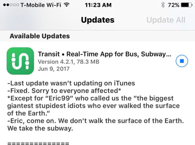 This Transit update message