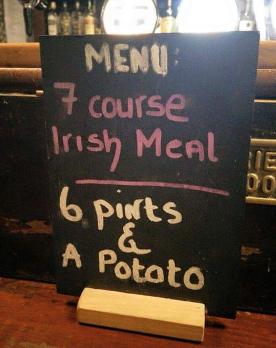 7 course Irish meal