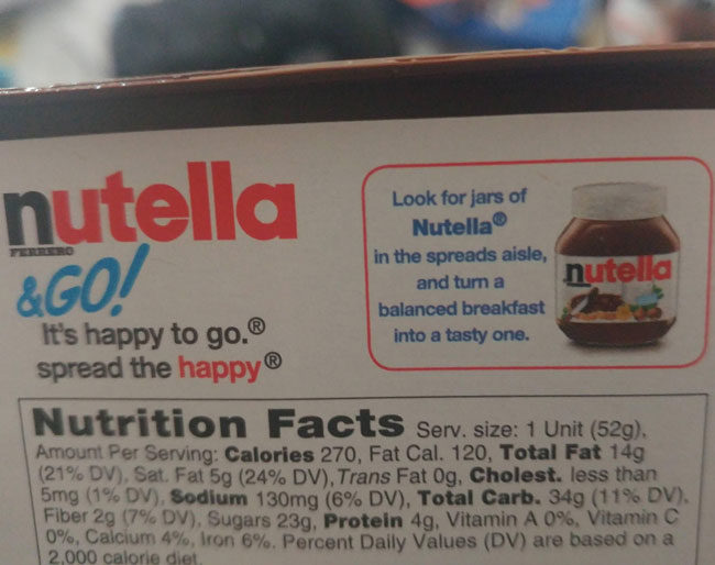 So is Nutella telling me to change my breakfast from healthy to fat?