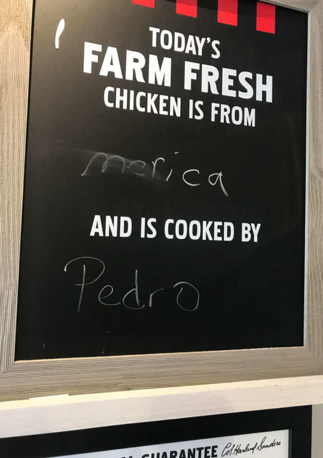 Seen at a local KFC..