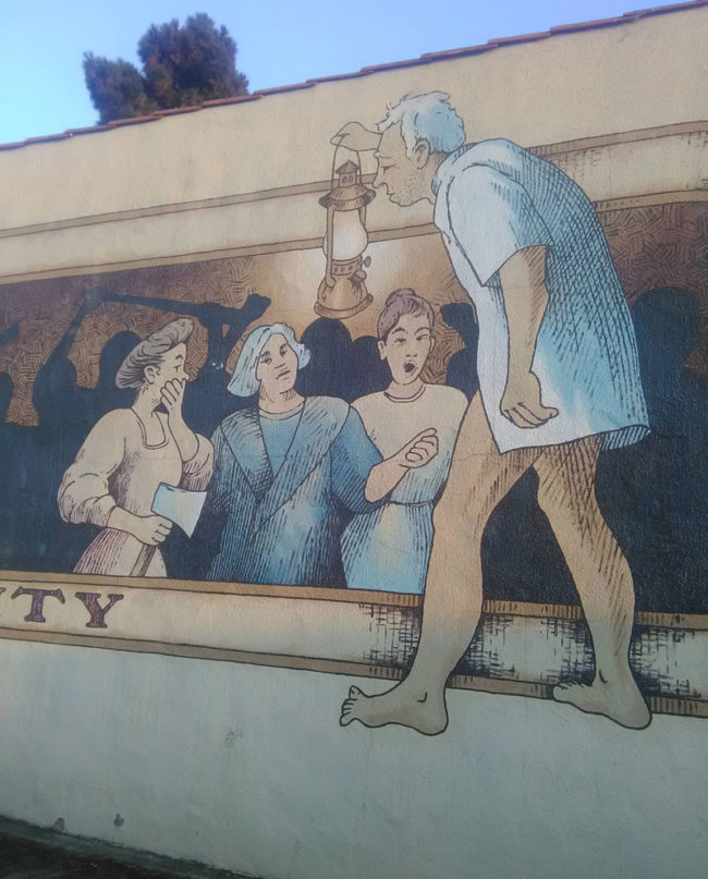 There's a mural in my town that I swear is an old man exposing himself to some ladies