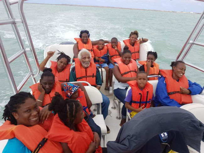 My cousin helping evacuate the island of Barbuda in preparation for a second hurricane hitting today, the boat trip to Barbuda was loaded full with water, food and clothes. After all these people have lost they're still smiling