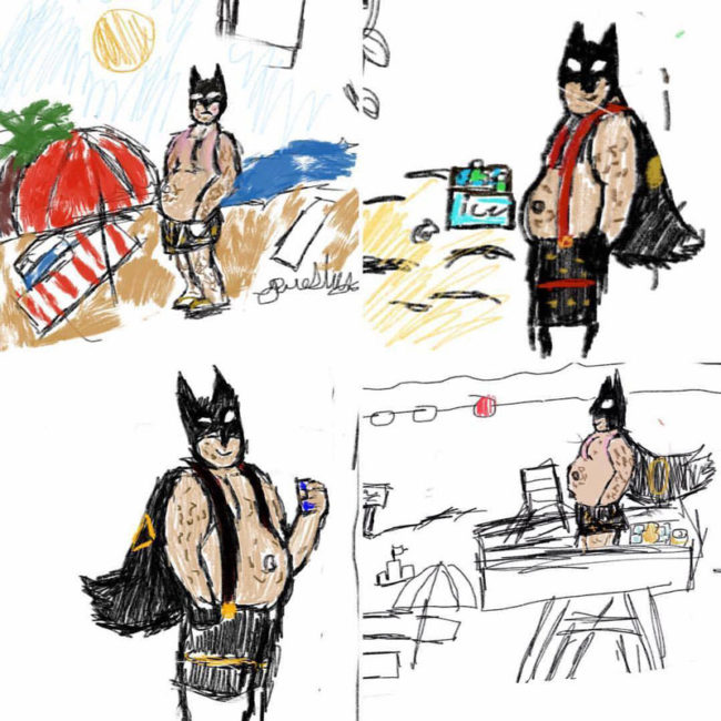 My 11 year old has started drawing fat, middle aged Batman at the beach and it's everything you never knew you needed in life