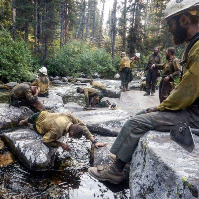 Firefighters taking a break out west
